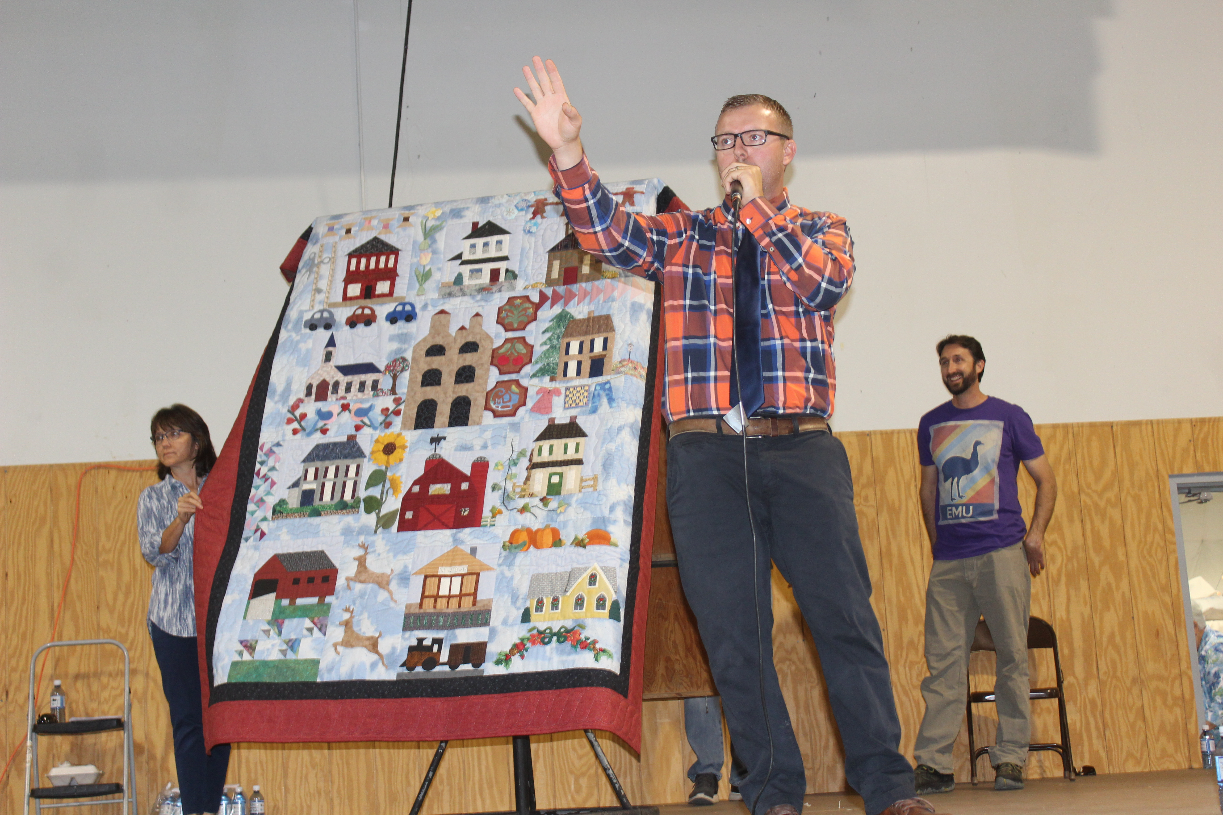 A Quilt for sale at the Virginia Mennonite Relief Sale quilt auction.